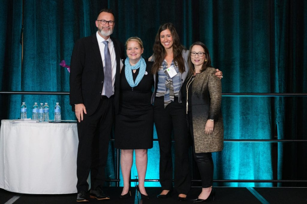 The OGTAG team accepts their GRIT Award in the Teams Category. Presented by Experience Energy. With Alexandria, COO at OVS Group, Jen Hohman CIO at Seadrill on far right and David Reid, CMO, National Oilwell Varco.